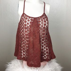 Sun and Shadow Rust Lace Tank Top